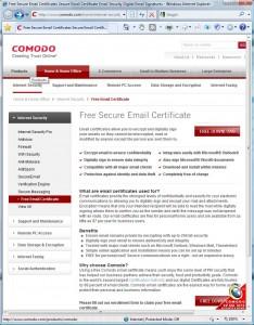 Начальная страница Free Secure E-mail Certificate