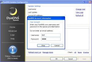 Вводим имя пользователя и пароль dyndns.com