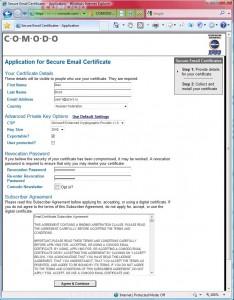 Данные для получения сертификата