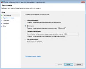 Открытие порта в брандмауэре Windows (2)