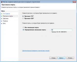 Открытие порта в брандмауэре Windows (3)
