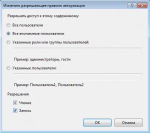 Правило авторизации FTP